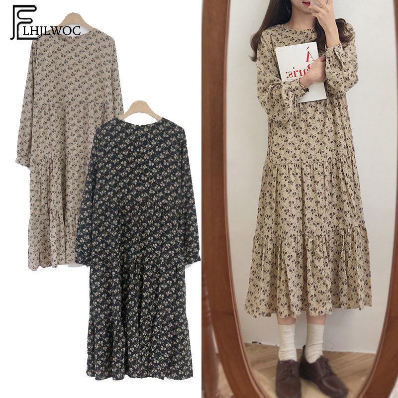 Heiße beiläufige Kleider der heißen Verkäufe Frauen adrette Art Japan Nette süße Mädchen lose O Ansatz mit Blumenmuster Rüschenweinlese-Kleid 4511