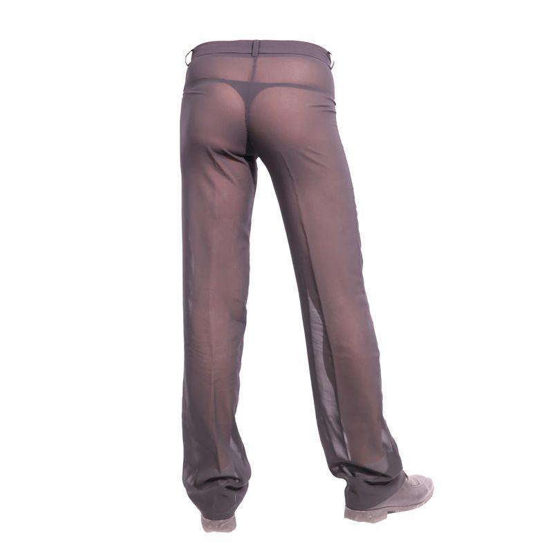 Los hombres atractivos de la gasa de Sheer ver a través de los pantalones de pierna recta de ajuste deslizante ropa de dormir transpirable sueño Bottoms Pantalones hombre Encuadre de cuerpo entero