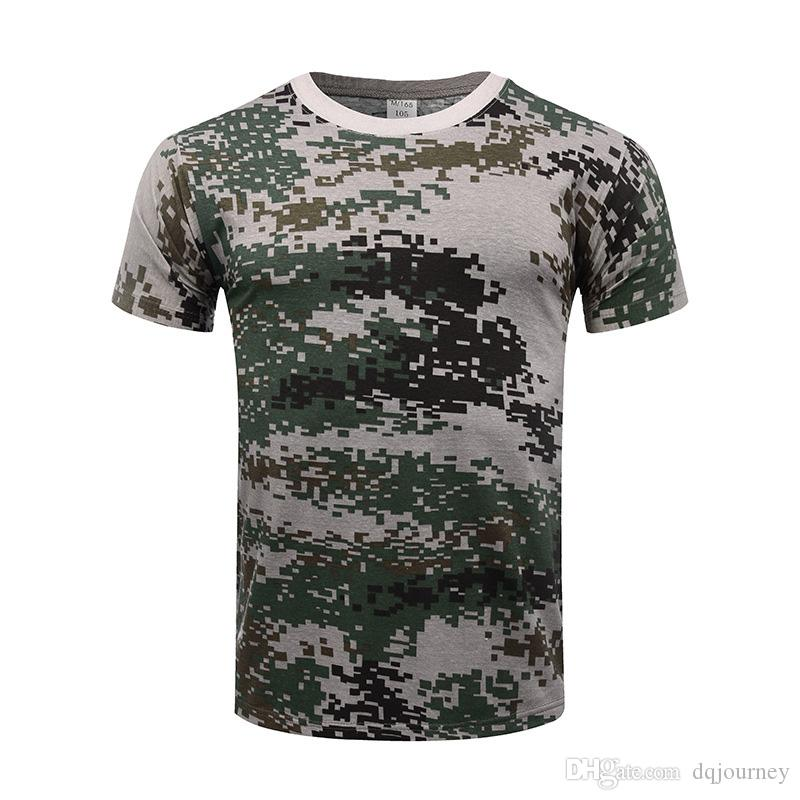 Men Outdoor Famous Tactical Camouflage Digital Jungle T-shirt Breathable US Army Combat T Shirt Quick Dry Camo Hunting Camping Hiking Tees