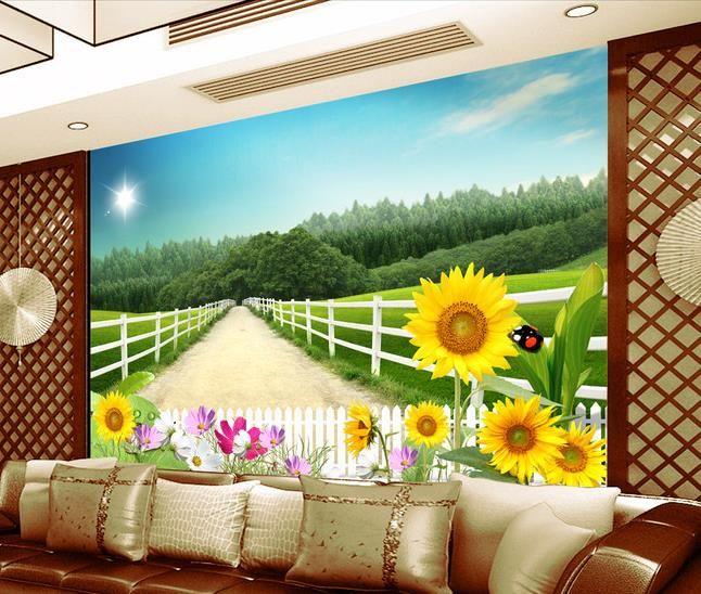 거실에 대 한 대형 HD 프리 해바라기 벽화 현대 벽지