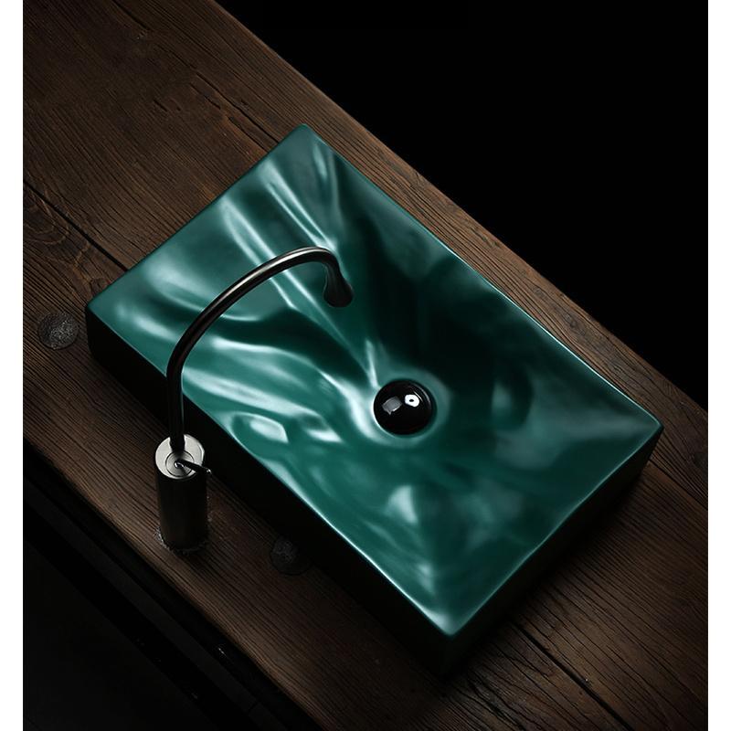 Salle de bains des puits forestiers Art Vert laver Basin Bowl design moderne Vase en céramique Au-dessus Compté Avec vidange doux tuyau