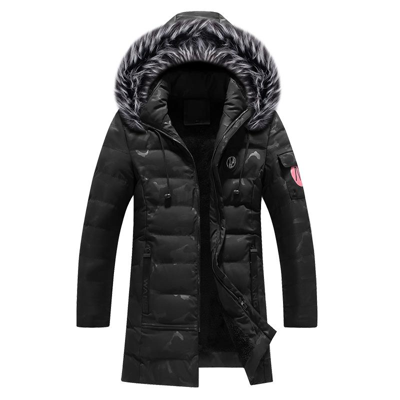 Fashion Winter Jackets Men Thick Velvet Hooded Coats Fur Collar Long Trench Men Parka Camouflage Warm Down Jackets