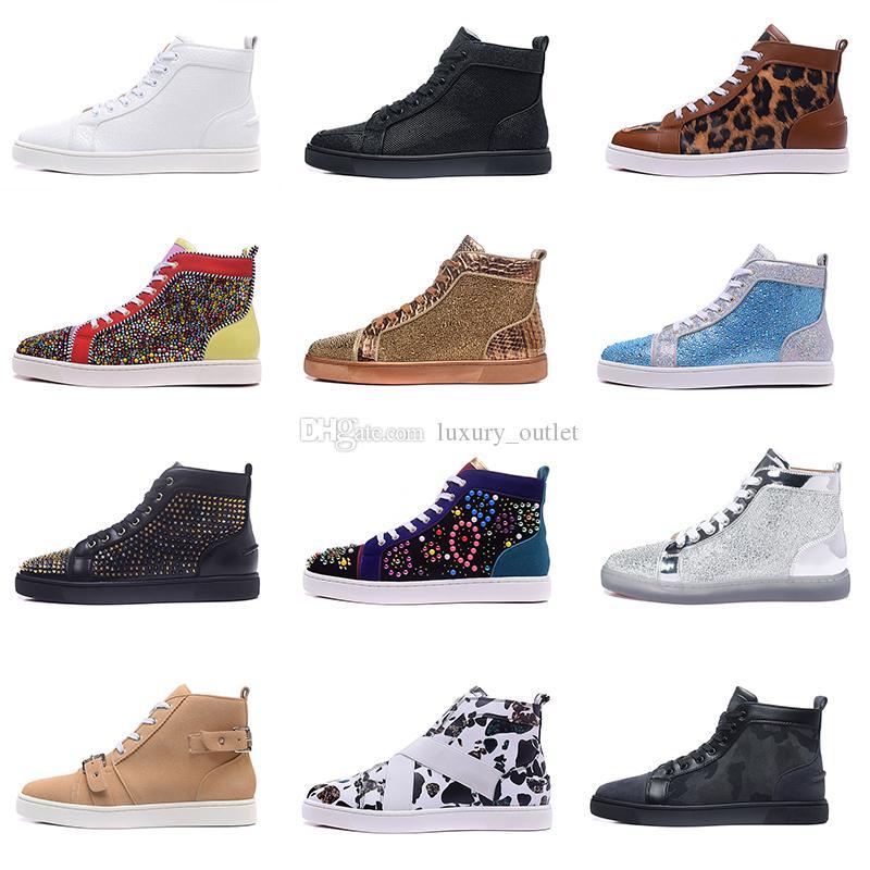 럭셔리 디자이너 남성 빨간 바지가 박힌 스파이크 플랫 다이아몬드 하이 탑 스니커즈 반짝이 정품 가죽 데 CHAUSSURES Zapatos 신발