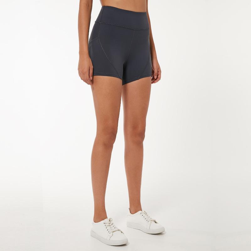 Женщины высокой талией йога Короткие LU-80 Workout Бег Фитнес рейтузы Женский спортивный шорты Gym Gym леггинсы с боковым карманом