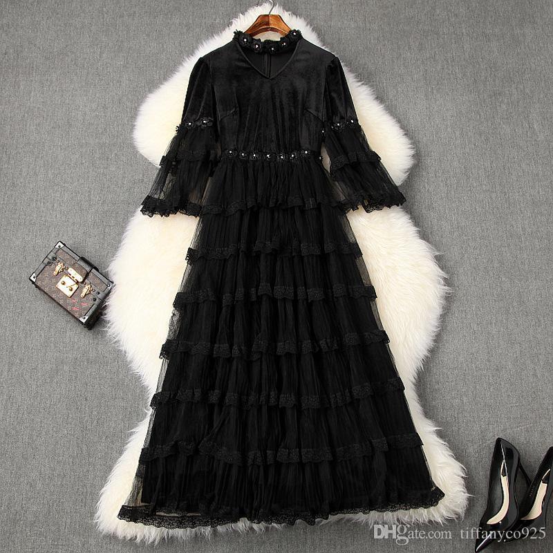2020 весна лето черного 3/4 рукав V шея Минималистской Обычная Lace Щитового бисер Mid-теленок способ платья Повседневных платья LJ1010577