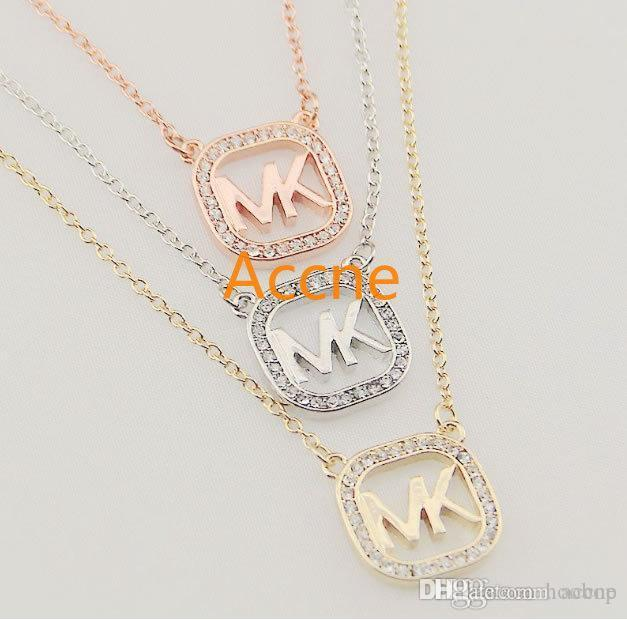 Luxury Fashion Necklace Tone Crystal Heart shaped pendant Necklaces love brand jewelry for women lady silver/rose/gold