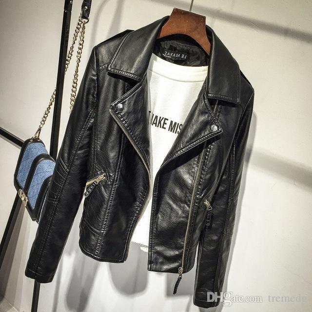 2019 Spring Jacket Casual femmes manches longues Slim Zipper Veste de mode PU veste turn-down vêtement souple Hauts pour femmes en cuir souple PU Leathe