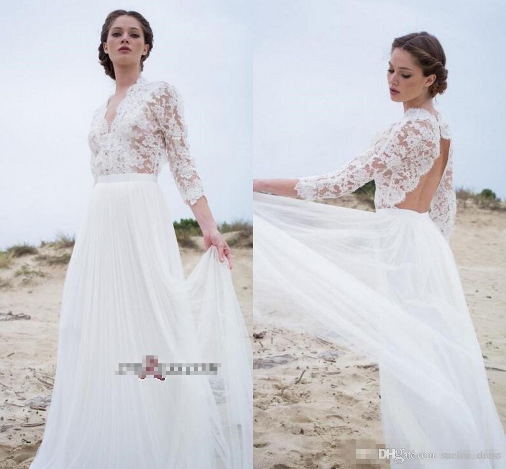 섹시한 딥 브이 넥 A 라인 웨딩 드레스 Bohomian Backless 레이스 Applique Tulle 스커트 3/4 긴 소매 비치 웨딩 신부 가운 Custom Made