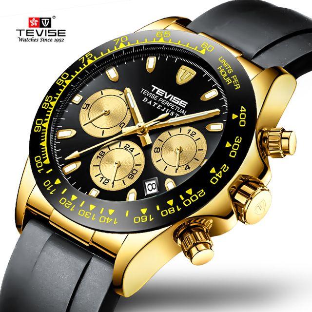 Moda para hombre Marca TEVISE reloj mecánico automático del reloj masculino de silicona multifunción Deporte Reloj Masculino Relógio
