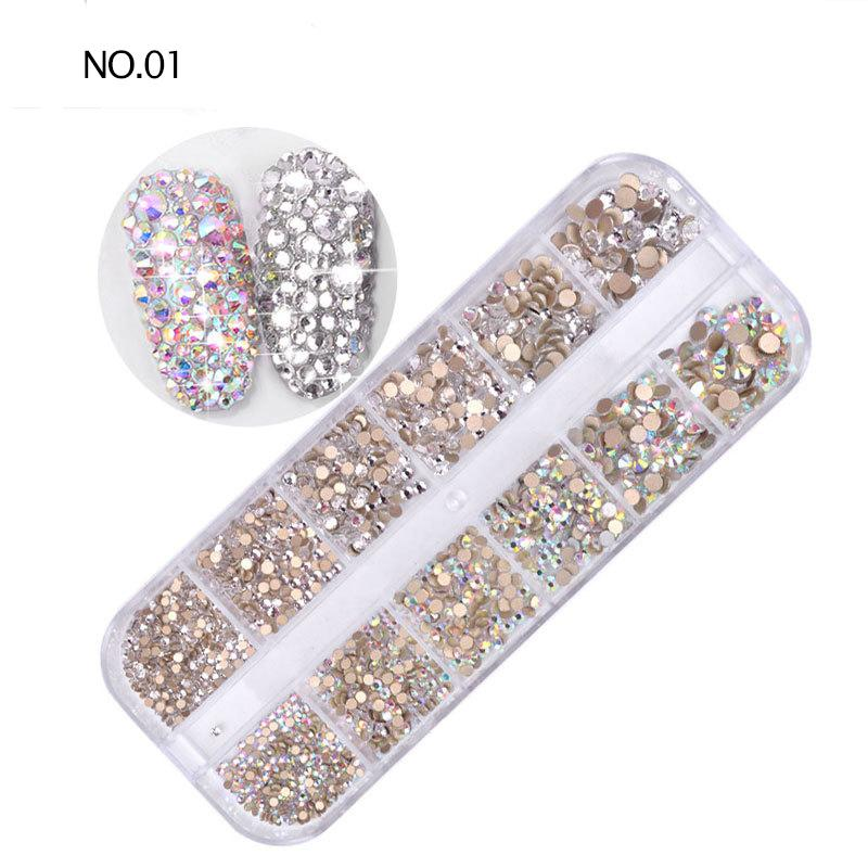 1440PCS Multi vidrio Tamaño del clavo Rhinestones 3D Charm colores mezclados plana posterior AB cristal de diamante bricolaje uñas de manicura Arte Decoración