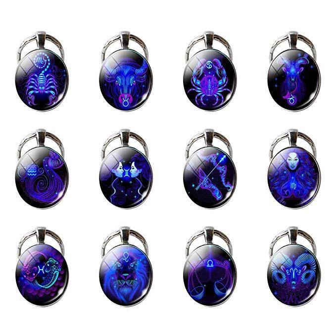 12 Constellation Keychain Zodiac Chaveiro redondo sinal Pingente de vidro Chaveiro Keyfob para bolsa Bolsas Car Key presente Xmas Charme