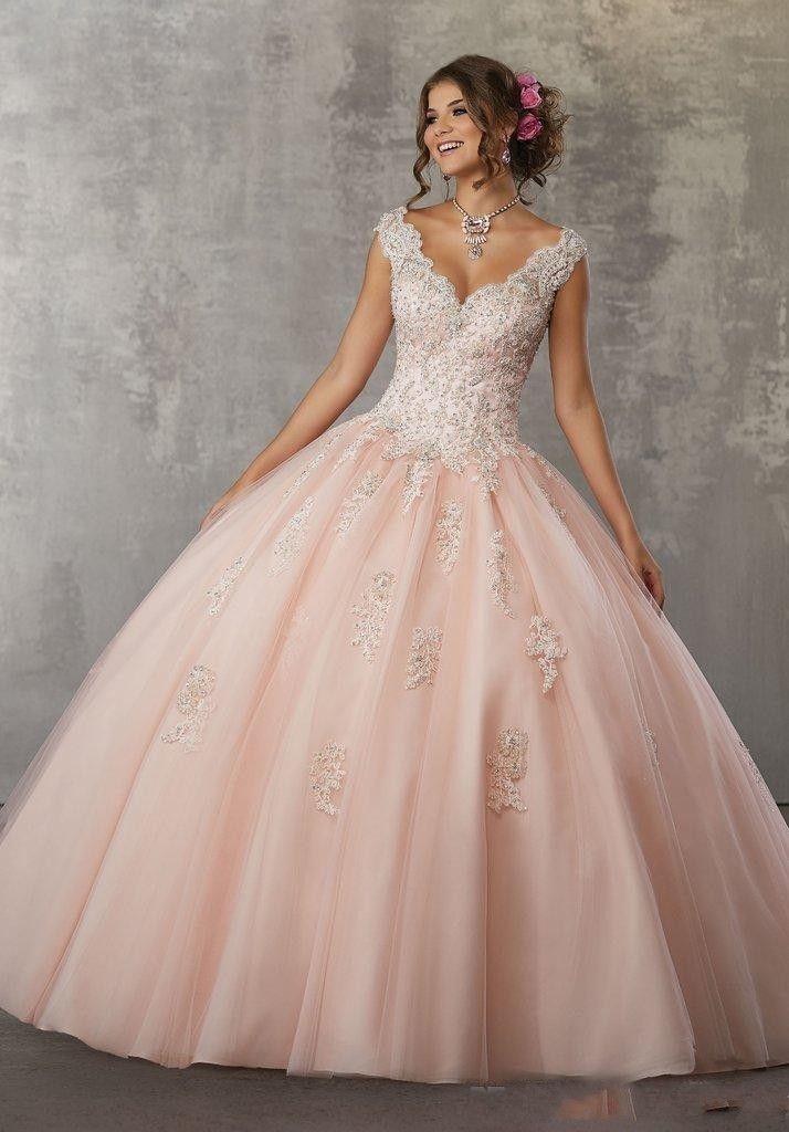 Compre Vestidos De Quinceaneara Con Cuello En V Vintage Vestidos De Quinceañera 2019 Vestidos De Quinceañera Keyhole Back Sweet 16 Vestido Longitud