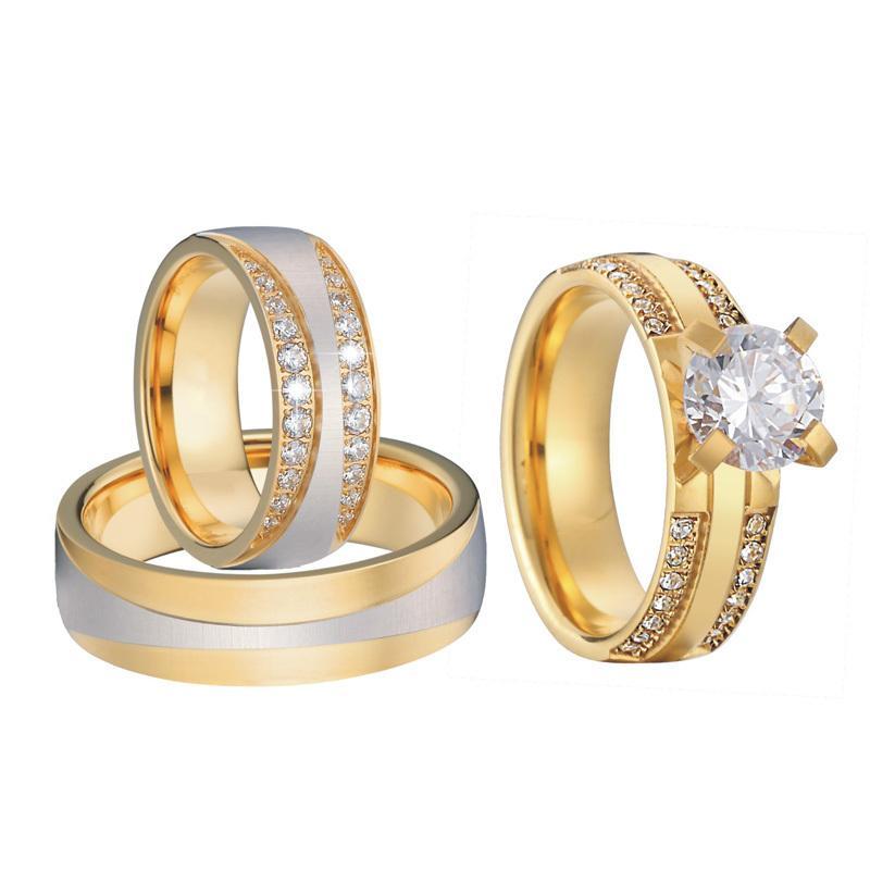Düğün Setleri Takı Gelin Altın Renk Anillos Anel Bague Bijoux Femme Lüks 3 Parça Kadınlar Için Nişan Yüzük C19041201
