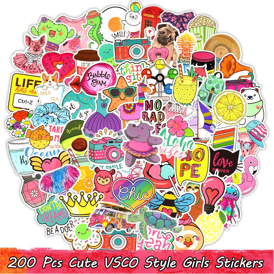 200 Pcs Cute Cartoon Waterproof VSCO Girls Vinyl Stickers Pack for Kids Teens Adults to DIY Laptop Water Bottle Scrapbook Bike Car