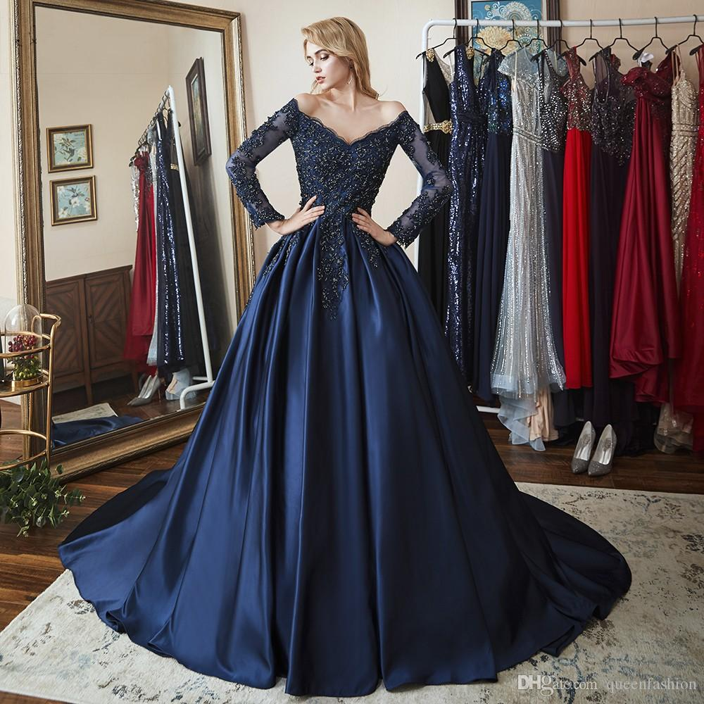 Long Sleeve Evening Dress Gown V Neck Off the Shoulder Formal Ball Gown Prom Dress Low Back Sweep Train Celebrity Party Dress