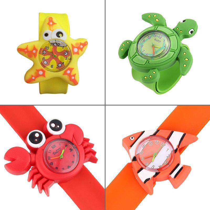 Neue Art-nette Tier 3D Karikatur-Silikon-Band-Armband Kinder-Armband-Uhr-Spielzeug-Uhr für coole Mädchen Jungen Baby Kinder Geschenke kZukb
