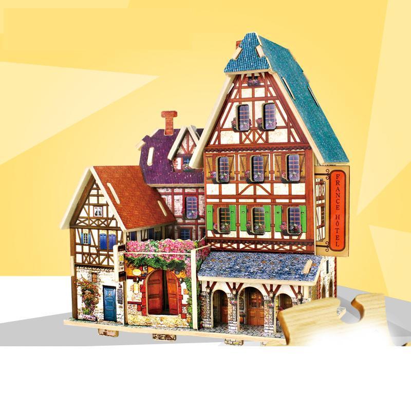 Model Building Block Bricks Toys 3D Wood Puzzle DIY Model Kids Toy World House Puzzle Wooden 3D Puzzle Toy for Children