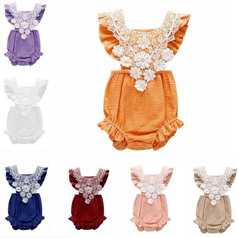 7 Couleurs Baby Romper Enfants Designer Vêtements Girls Girls Sans Manches Dentelle Combinaison Onees One Piece Jumpseau pour nourrisson Rompers Body Body Towdler