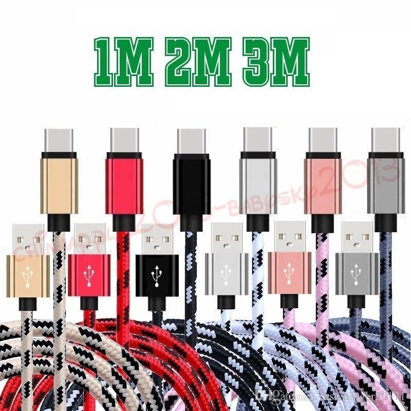 النسيج سريع نوع ج كابل الناقل التسلسلي العام 1M 2M 3M سبيكة الألومنيوم مزين النسيج الصغيرة كابلات USB لسامسونج S6 S7 حافة S8 S9 هواوي اتش تي سي الروبوت الهاتف