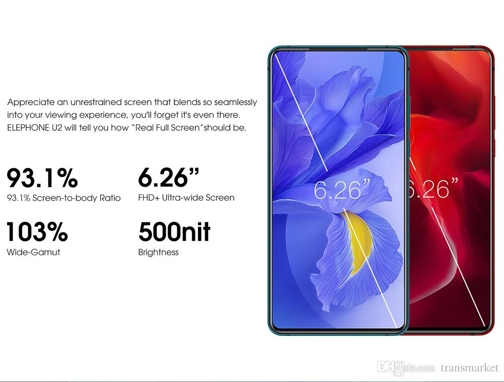 """Elephone U2 16MP Pop Up Camera 6GB+128G Mobile phone 6.26"""" FHD+ Screen Android 9.0 MT6771T Octa CoreFace ID 4G LTE Smartphone"""
