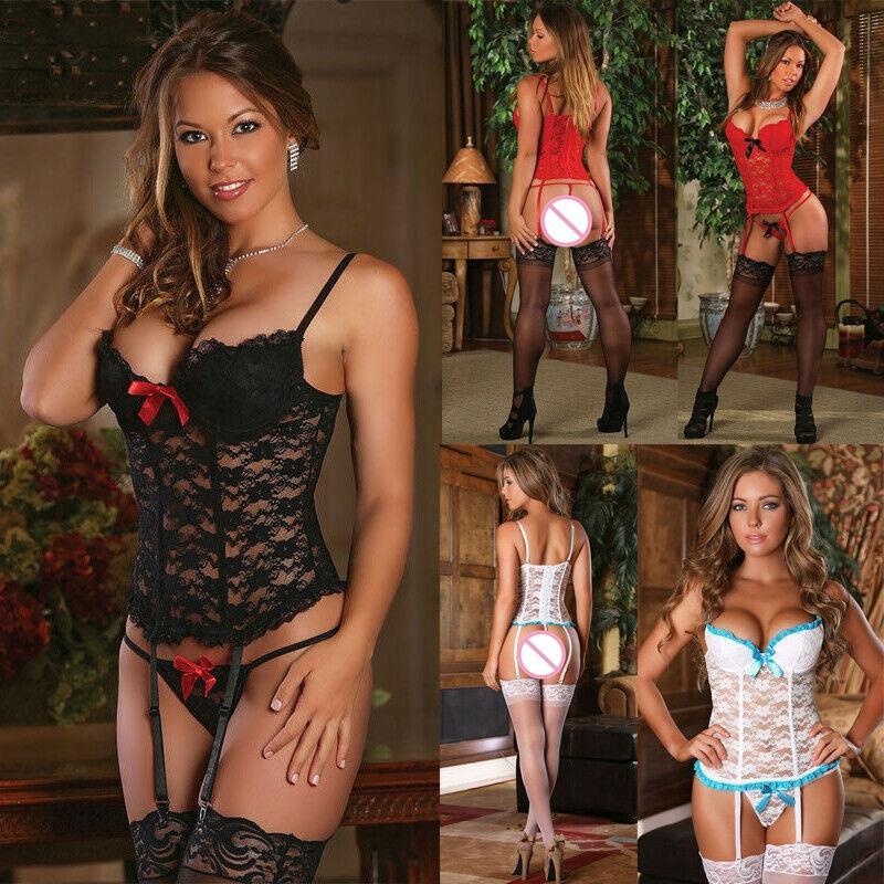 Mulheres Lace Sexy Lingerie Pescoço V Top Nightwear Underwear G-corda Babydoll Sleepwear Conjuntos Exóticos (Não incluem Meias)