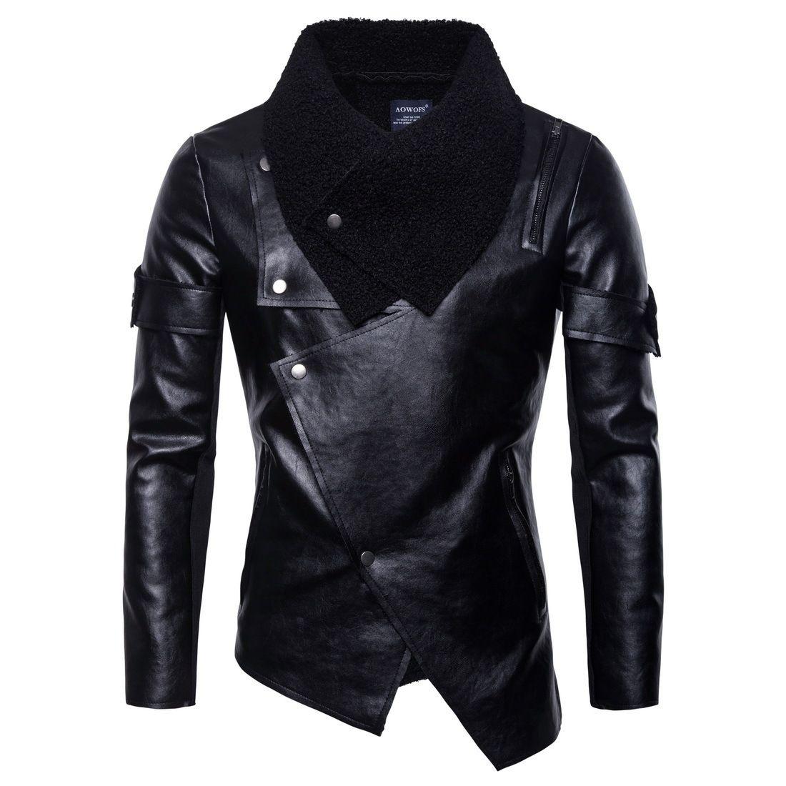 2018 nuova giacca da uomo in pelle moto abbigliamento in pelle lavata personalità giacca di pelle punk irregolare tendenza