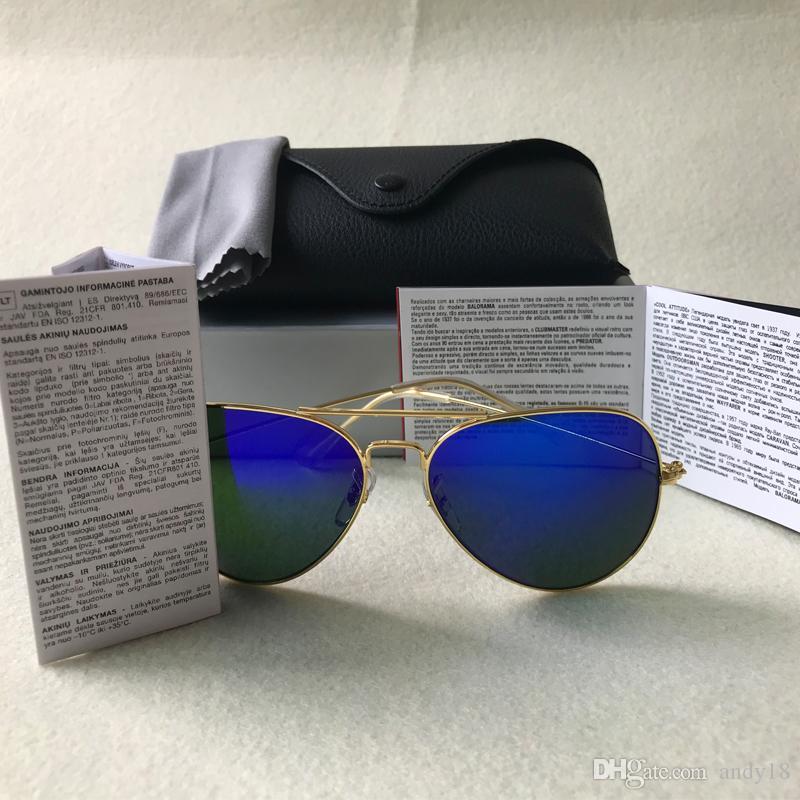 مصمم أعلى جودة العلامة التجارية النظارات الشمسية النساء الرجال الطيار UV400 عدسة النظارات الشمسية الرجال سبائك الإطار نظارات 58 62mm وعدسة زجاج مع حالات