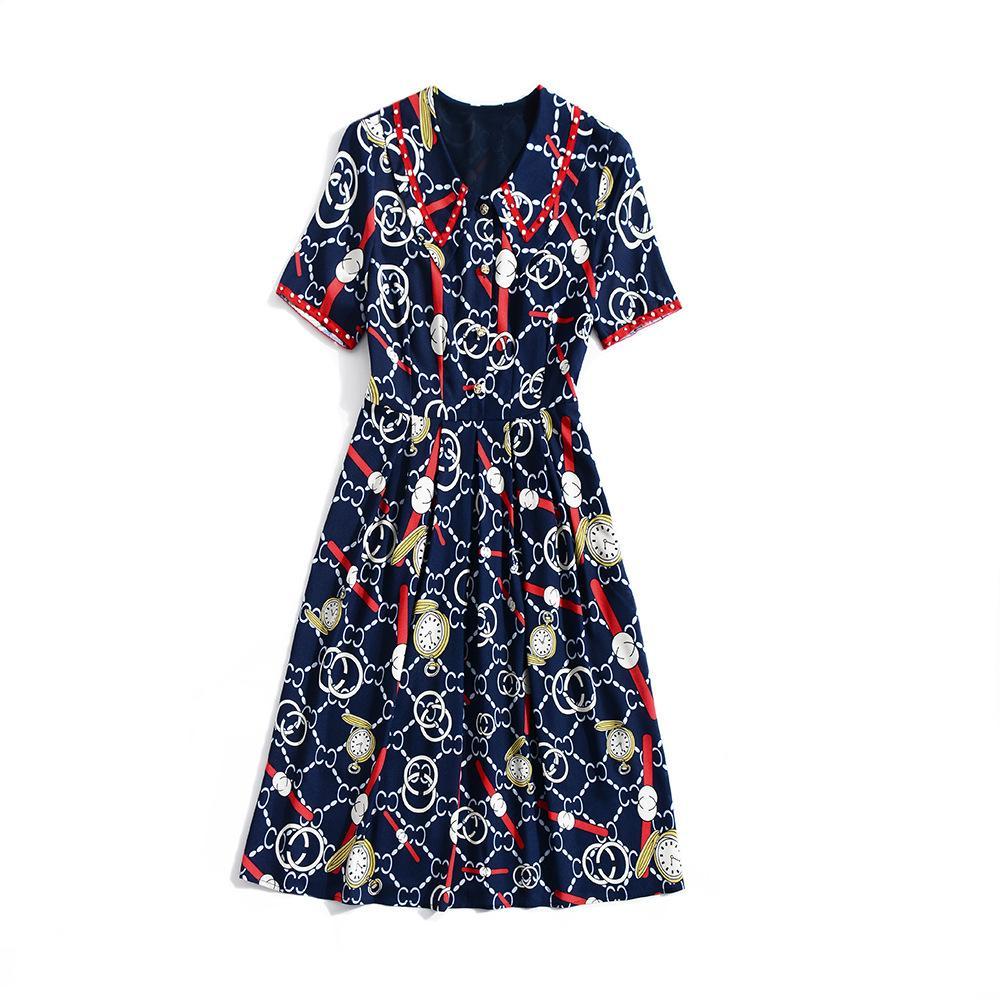 2019 Spring Summer Short Sleeve Peter Pan Collar Vintage Print Patchwork Beaded Mid-Calf Length Dress Luxury Runway Dresses A061806