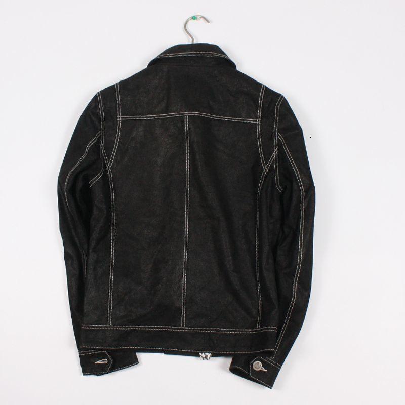 Harajuku Genuine Leather Jacket Collar Homens de abertura de cama Único Breasted bolsos da jaqueta Streetwear Coats negro Masculino de couro real