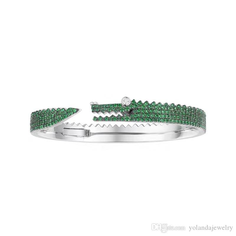 Личность женщины браслеты Браслет из белого золота покрытием полный CZ Крокодил Шарм браслеты для девочек женщин для партии свадьба хороший подарок