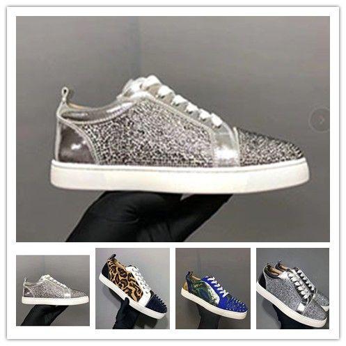 Designer scarpe da ginnastica rosse fondo piatto Spikes Velours Suede Sneakers grigio ferro uomini formatori 100% vera pelle scarpe partito 0c54