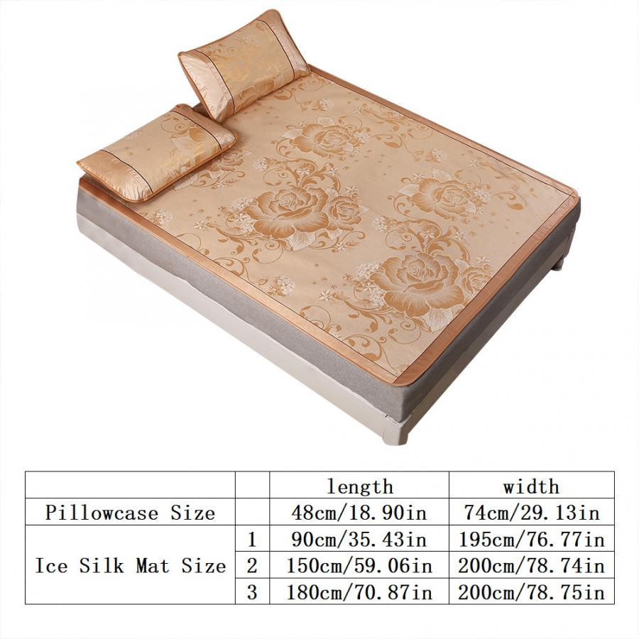 3pcs//set Summer Ice Silk Mat  Folding Cool Sleeping Mattress W//Pillowcase Cover