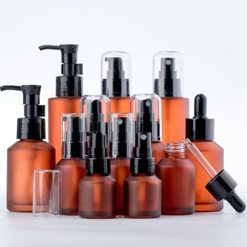 15ml 30 ml 60ml 100m Bernsteinglasflasche Protable Lotion Spray Pumpe Container Leerer Nachfüllbare Reise Kosmetische Lotion Creme Shampoo Flaschen