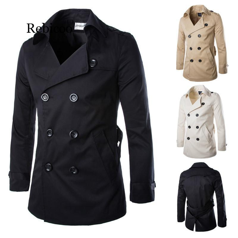 Mens Trench Coat 2019 Mens Mid Length Coat Slim Casual Men Solid Adjustable Waist Male Trench Street Wear Style Wind