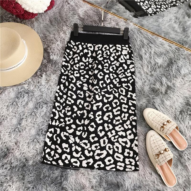 Otoño invierno Ol elegante de las mujeres de la falda 2019 de las mujeres de talle alto con estampado de leopardo punto dama dividida estiramiento delgado de la falda de las faldas femeninas MX200327