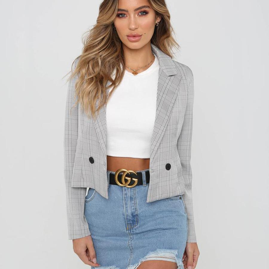 2019 Jacket Women Spring Short Pink Casual Plaid Blazer Women Suit Gothic Office Lady Korean Outerwear Womens Americanas Mujer