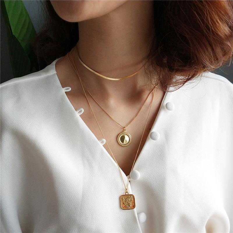 INZATT 925 ronde en or en argent sterling Minimaliste Rose Square fleur collier pendentif bijoux 45CM 55CM chaîne pour les femmes cadeau