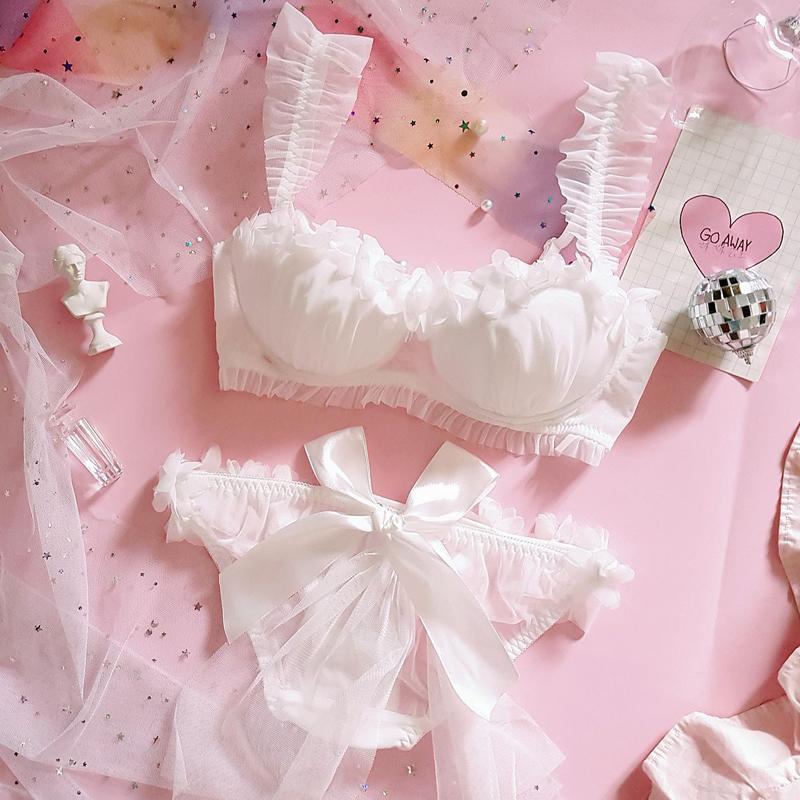 Genç Kız Japon Sevimli Lolita Düğün Dantel Sütyen Kısa Setleri Kadın fırfır Push Up Underwire İç Seti Sütyen ve Külot Takımı