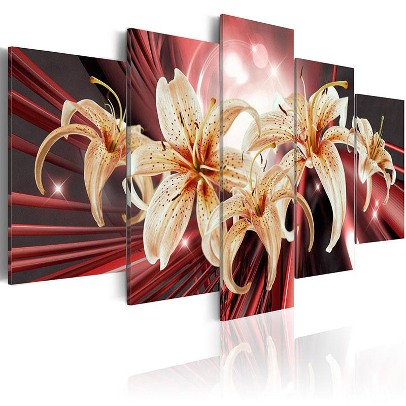 Unframed Lily Flower Pattern Canvas Painting Living Room Hotel Bedroom Bathroom Wall Art Decor 5 Pieces