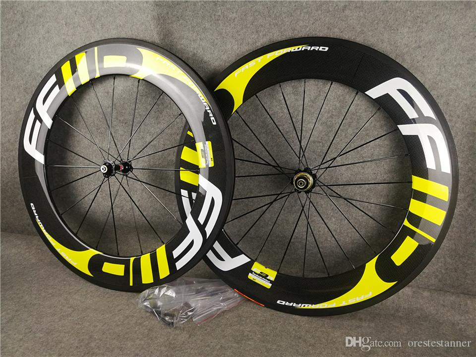 Free shipping Yellow logo FFWD F9R 88mm carbon road bike wheels with 23mm width Novatec A271 hubs 700C Clincher Wheelset