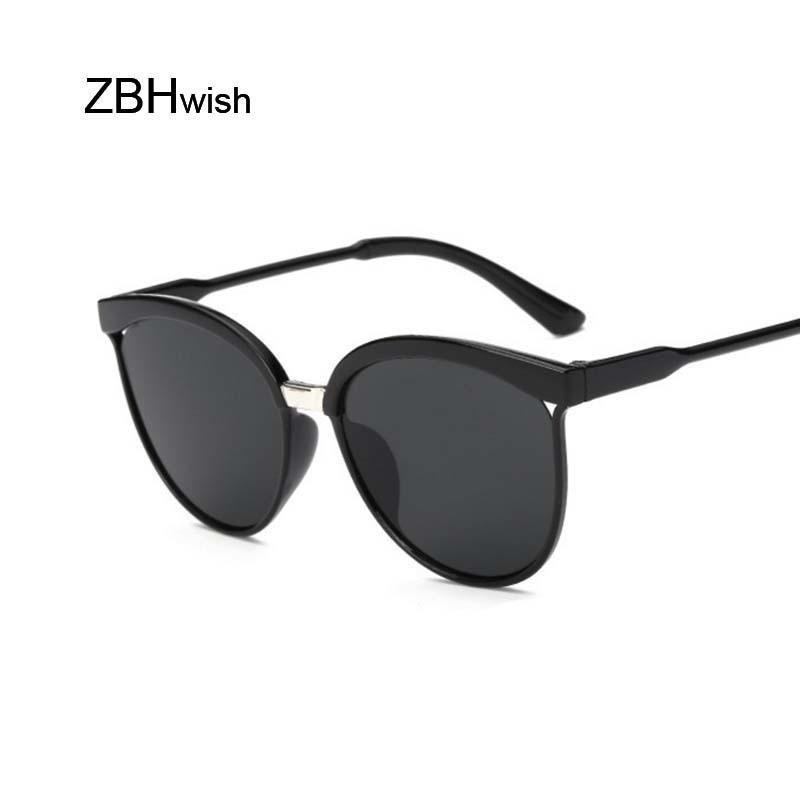 Vintage schwarze Sonnenbrille-Frauen-Katzenauge-Damen-Sonnenbrillen Farbe Objektiv Spiegel Lady Sunglass Female Fashion Brand Design Oculos zkbiM