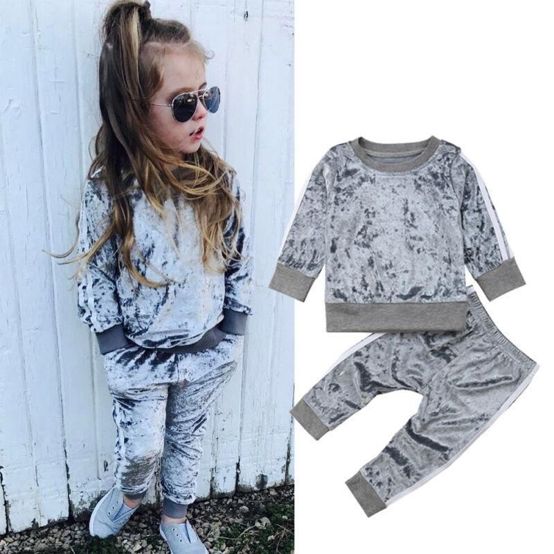 Pudcoco Infant Kind-Baby-Mädchen-Frühlings-Kleidung Set Sport Streifen Samt Tops + lange Hosen Herbst Freizeit-Outfits 2pcs 1-6T
