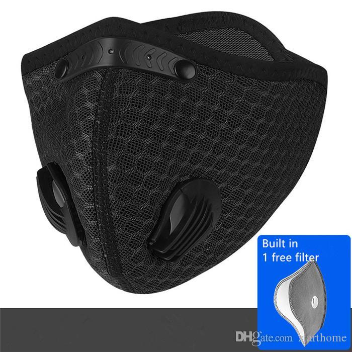 4 colori bicicletta Maschera Maschera Viso Sport con filtro carbone attivo PM2.5 Esecuzione Equipaggiamento sportivo Mask
