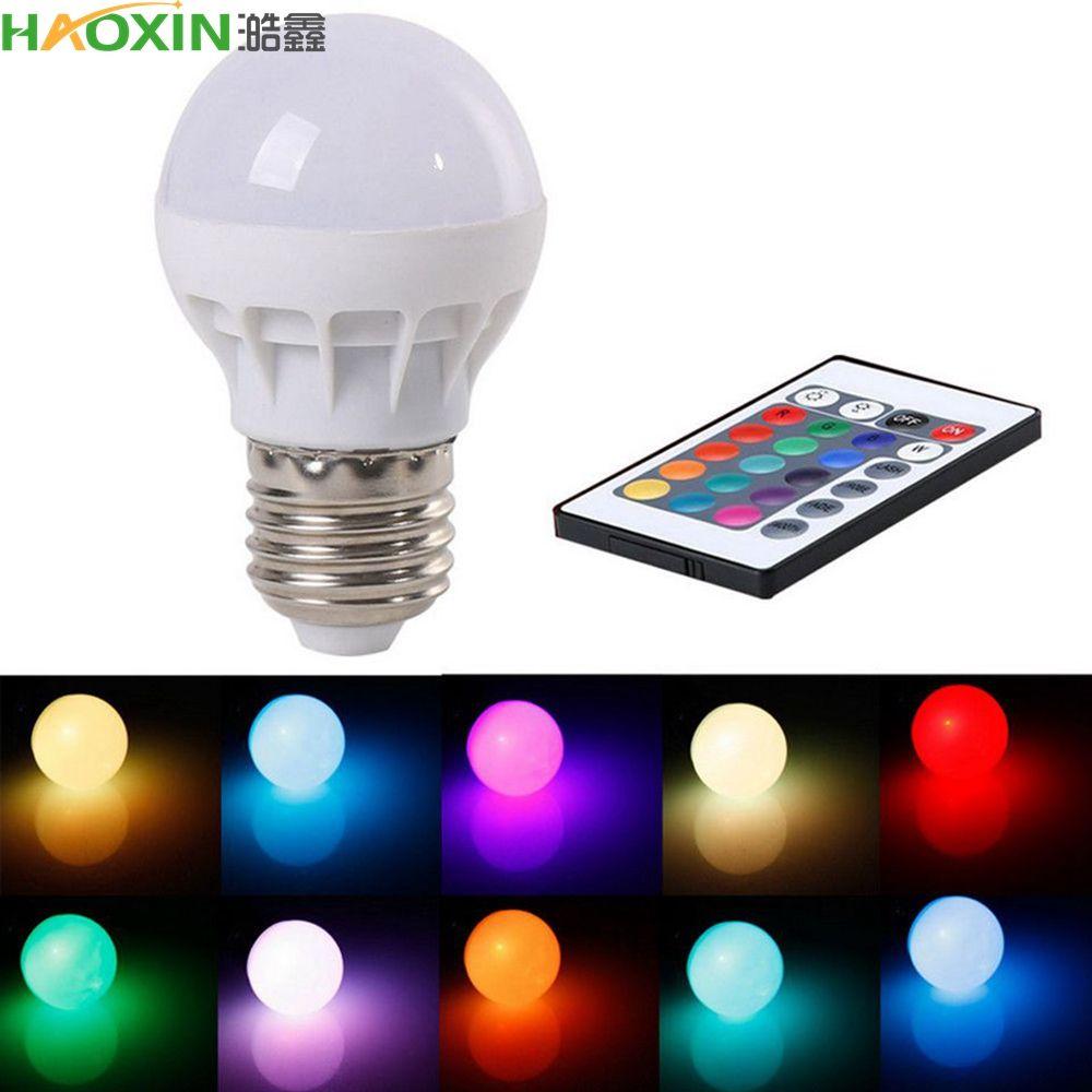 Haoxin 3W E27 LED RGB LED 전구 IR 원격 제어 팝 램프 색상 변경 AC 85-265V 16 색 변경 LED 전구