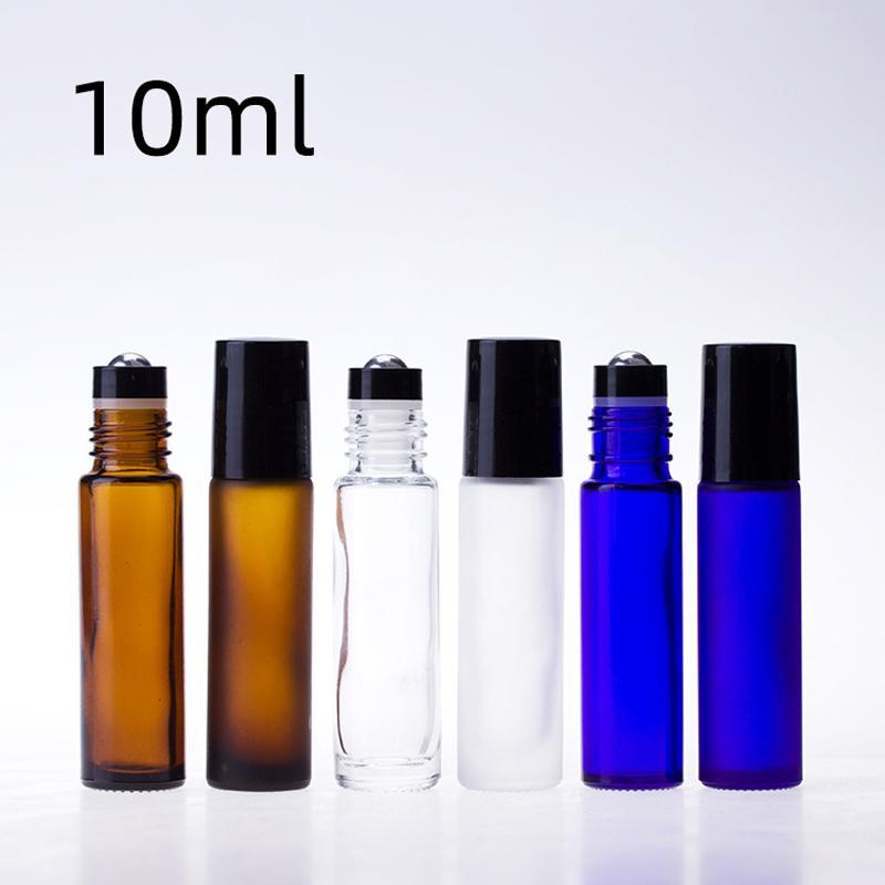 10ML 황색 / 블루 / 금속 볼 롤러 아로마 테라피 향수 포장 용기와 병 에센셜 오일 유리 병에 투명 유리 롤