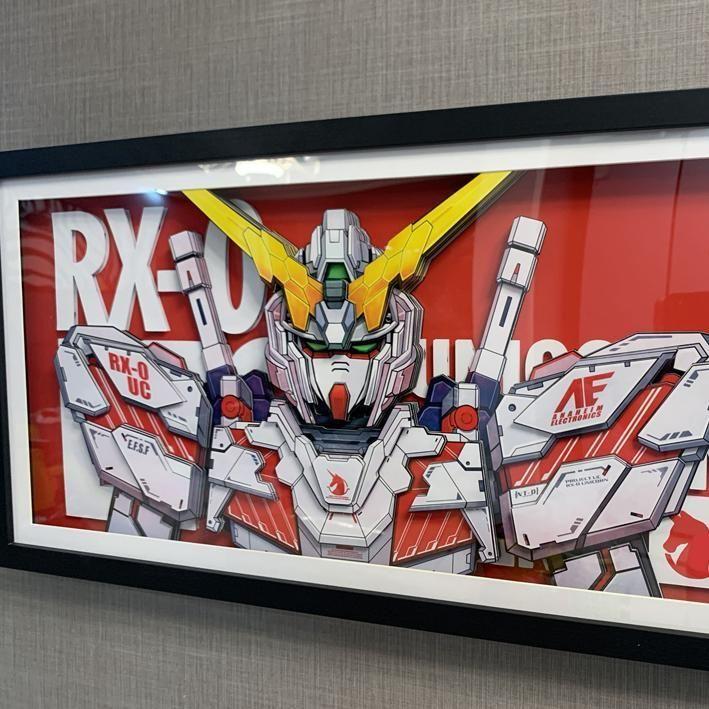 Gundam Unicorn RX-0 kalaboom l'anime peinture décorative donne à un ami un cadeau cadre photo tiré par la main