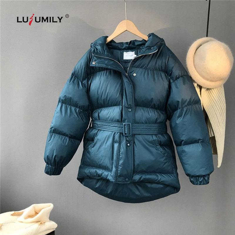 Lusumily 2019 New Arrivals Women Down Jacket Korean Style Parkas Hooded Single Breasted Thick Sashes Cotton Coat Winter Overcoat LY191129