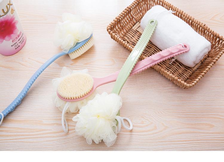 Plastik Saplı FFA3998-9 Long Banyo Fırçası Bath'taki sünger Geri Fırça Masaj Doğal yumuşak fırça grş1 2