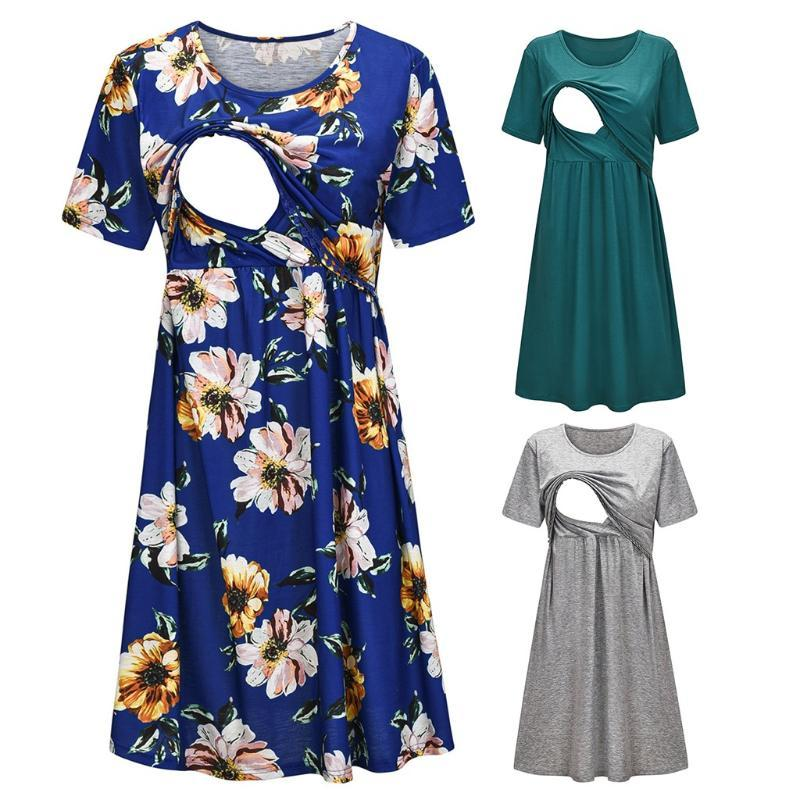 Women Maternity Laides Summer Fashion Casual Short Sleeve Floral Print Nursing Dress For Breastfeeding Pregnancy Clothes M140#