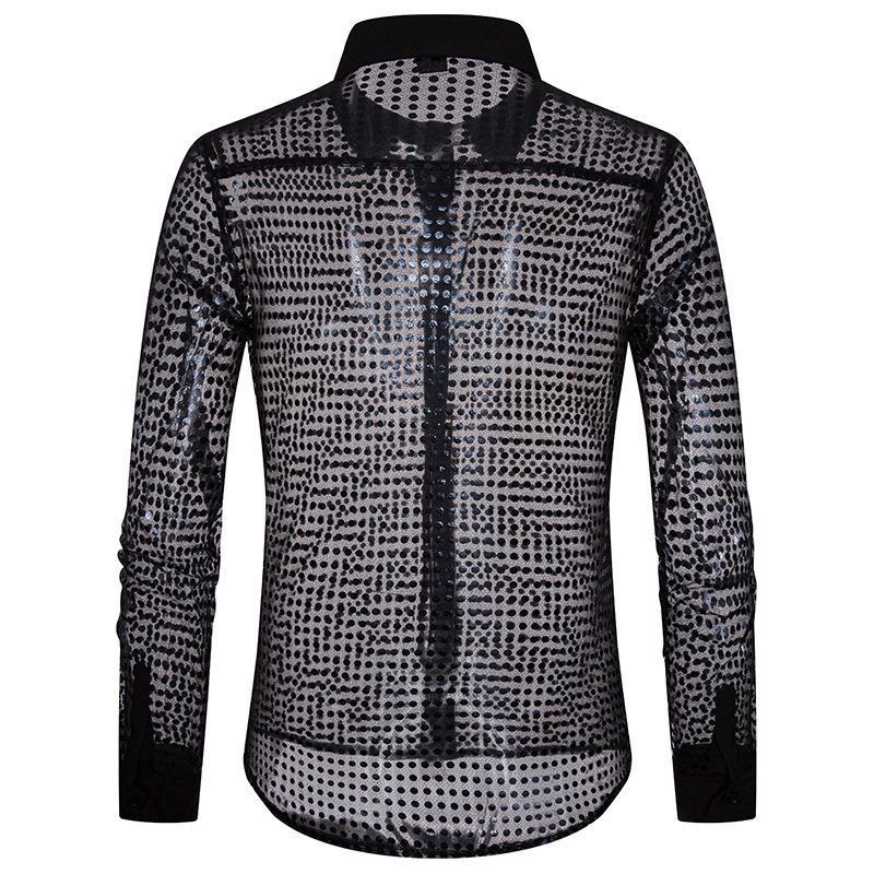 European Fashion Men's Plaid Shirts Autumn And Winter Glitter Big Body Point Scale Night Shop Design Men's Long Sleeve Shirt Y190506